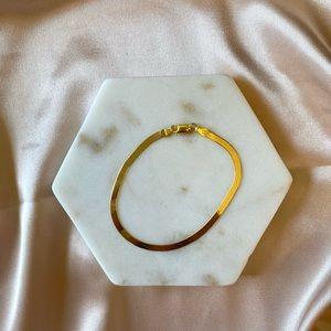 14K Gold Plated Herringbone Bracelet,SnakeBracelet